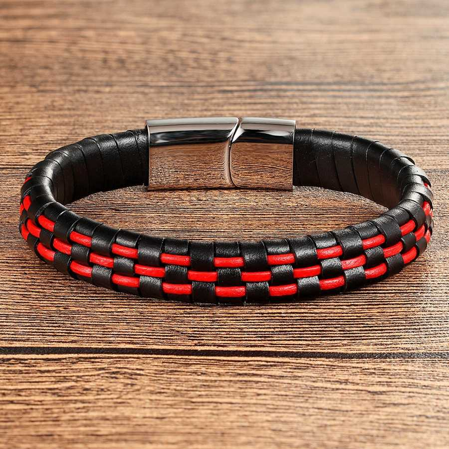 918f3073ee52db XQNI Hand Made Genuine Leather Bracelet For Men Women Blue/Red/Brown&Black  Color Stainless