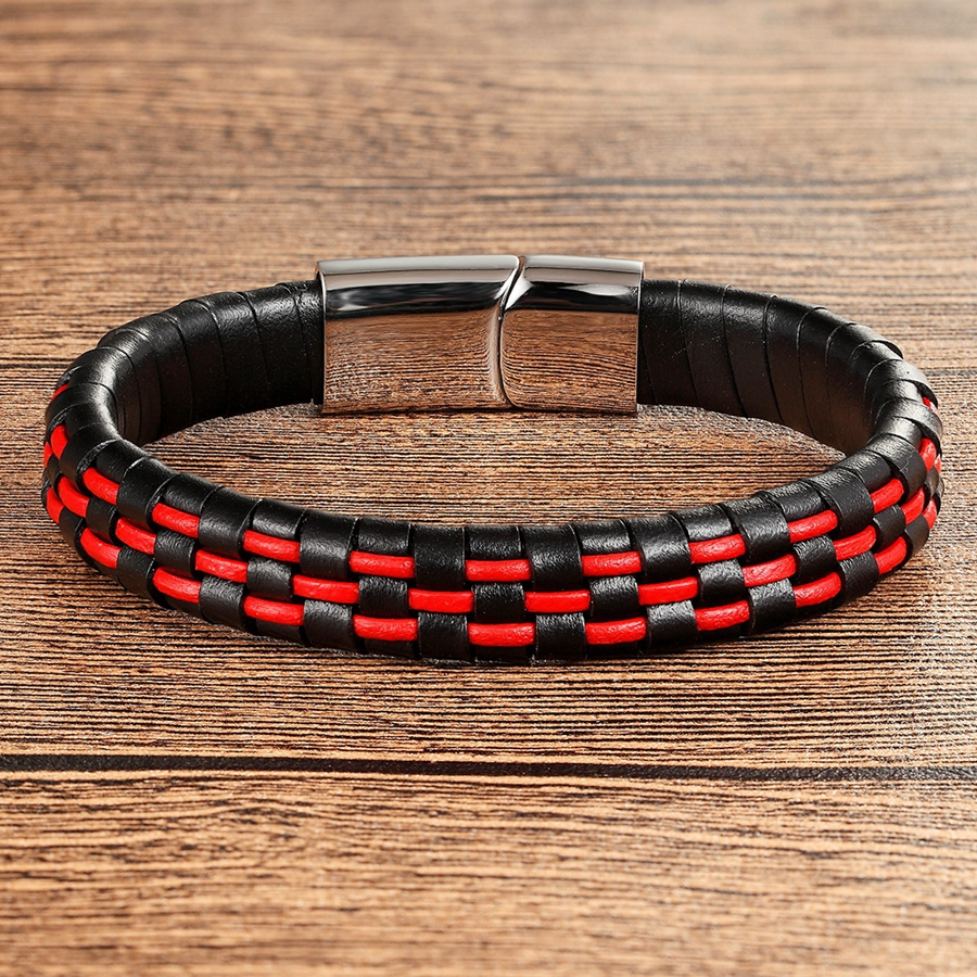 XQNI Hand Made Genuine Leather Bracelet For Men Women Blue/Red/Brown&Black Color Stainless Steel Magnetic Buckle Jewelry Gift