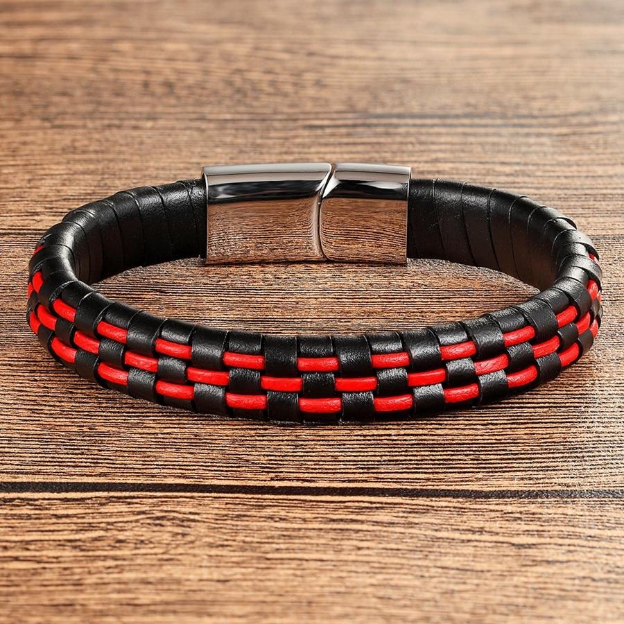 XQNI Hand Made Echtes Leder Armband Für Männer Frauen Blau/Rot/Braun & Schwarz Farbe Edelstahl Magnetische schnalle Schmuck Geschenk