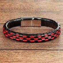 XQNI браслет из натуральной кожи ручной работы для мужчин и женщин, синий/красный/коричневый и черный цвет, магнитная пряжка из нержавеющей ст...