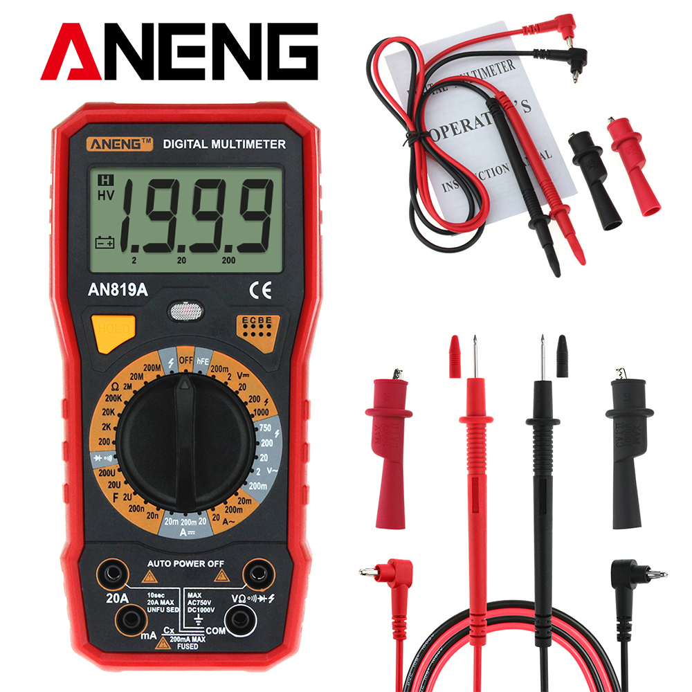 ANENG AN819A Digital Multimeter 1999 Counts Backlight LCD Portable Multimeter Voltmeter Ammeter AC DC Ammeter Auto Meter Tester все цены