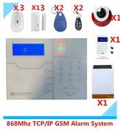 Большие скидки RJ45 Ethernet IP TCP GSM сигнализация Системы охранной сигнализации дома с Солнечные вспышки Flash сирены тревоги