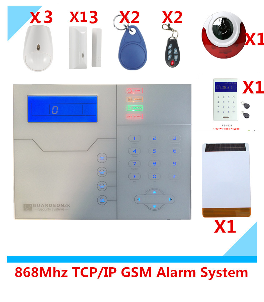 Big Discount RJ45 Ethernet TCP IP GSM Smart Alarm system Home Security Alarm System with Solar Strobe siren 2015 most advanced 868mhz rfid touchscreen keypad gsm tcp ip ethernet rj45 alarm system with doorway keypad and outdoor siren