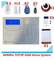 Big Discount RJ45 Ethernet TCP IP Alarm GSM System Security Home Alarm with Solar Strobe Flash Siren Alarm