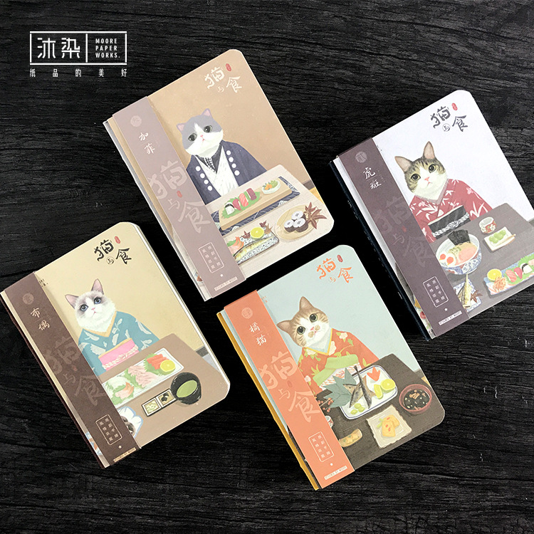 Hot Style Notebook Hardcover Small Booklet Cat Food Diary Book Creative DIY Notepad Book Kawaii Student Stationery Supplies nnrts creative cloth hardcover notebook blank box notepad painting graffiti diy hand book stationery