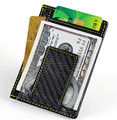 100% Real Carbon Fiber&Leather Credit Card Holder and business card Wallet with Yellow stitching