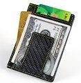 100% de Fibra de Carbono Real y Titular de la Tarjeta de Crédito y tarjeta de visita Billetera de Cuero con costuras de Color Amarillo