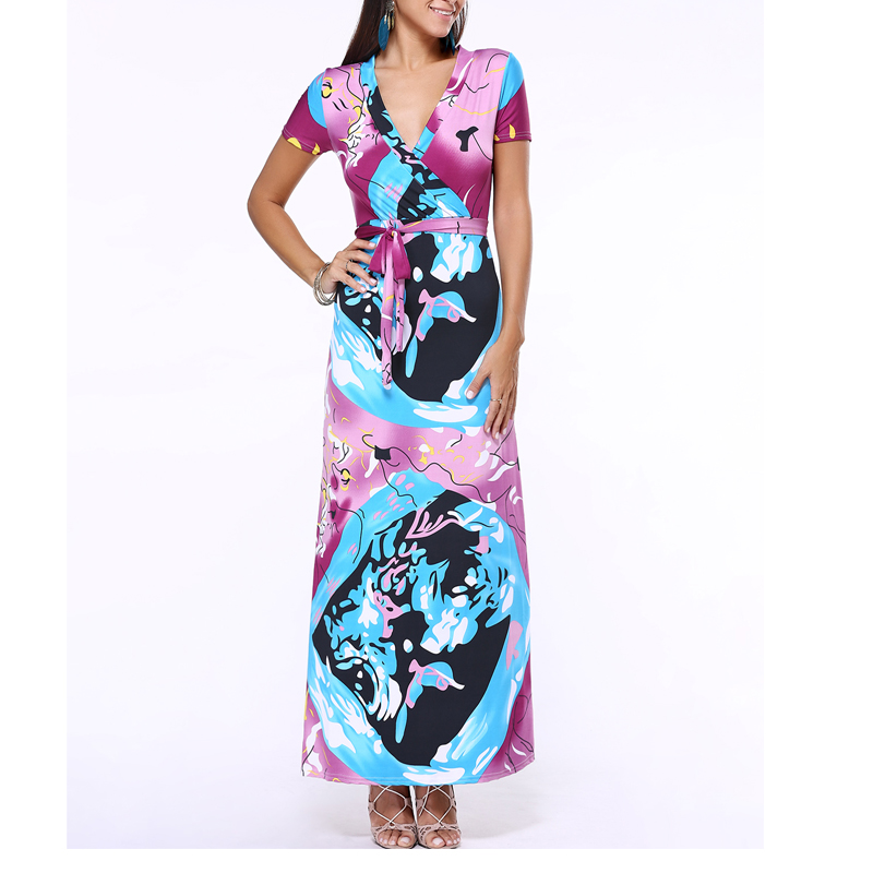 L-5XL High Quality New Fashion 2016 Designer Maxi Dress Womens short Sleeve deep v neck Printed Celebrity Party Long Dress J075