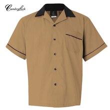 Новые модные мужские повседневные рубашки с коротким рукавом, хлопковая рубашка с отложным воротником, летняя рубашка Camisa Rockabilly, винтажные Клубные рубашки 40s 50s