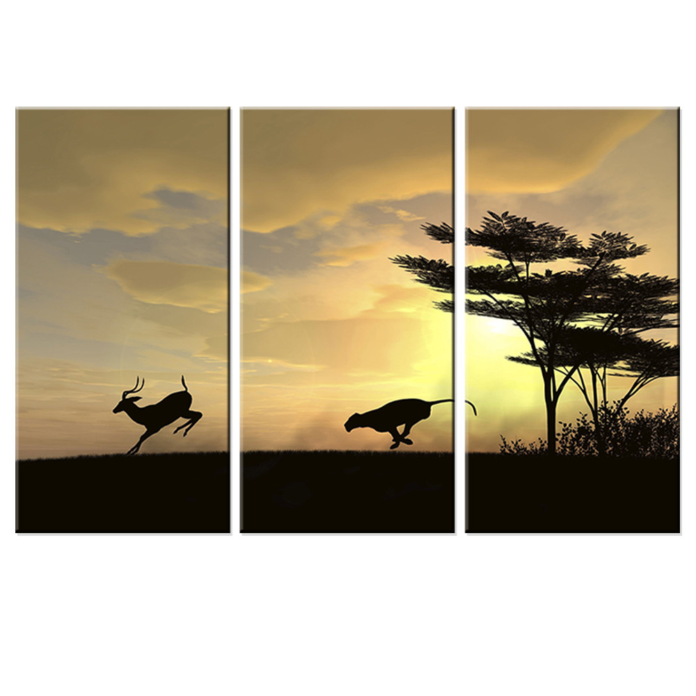 №Unframed Canvas Painting Wolf Chased Deer Oil Painting Wall Sticker ...