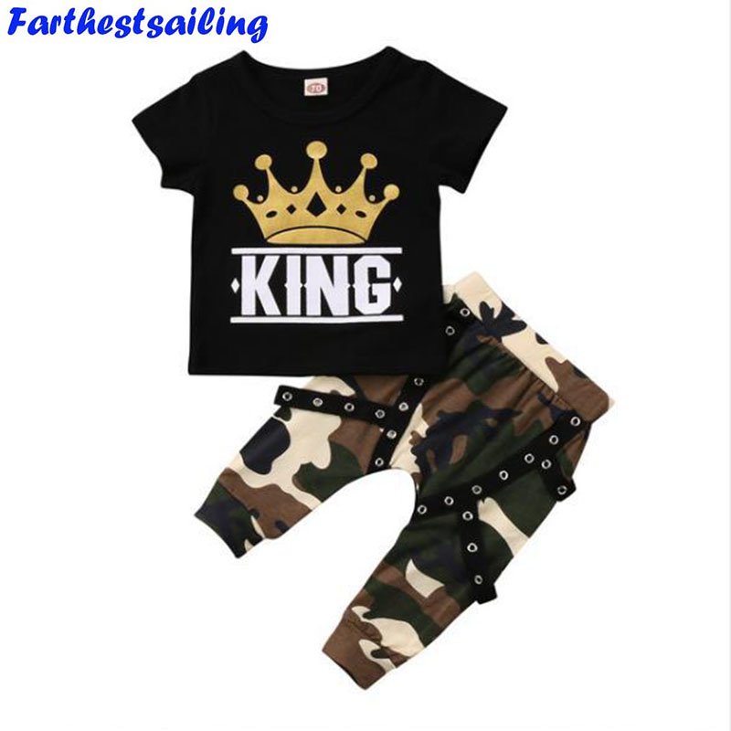 2018 Summer Baby Boys Clothes Suits Kids Clothing Sets Toddler Tops T-shirt Camo Pants Outfits Casual Sport Suits Children Sets baby boys fashion suits 2017 winter fleece coats rabbit tops pants kids outfits 2pcs set suits children s warm clothing sherry