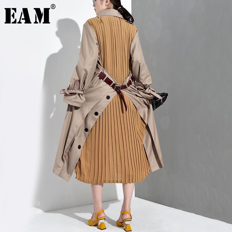 [EAM] 2019 New Spring Summer Lapel Long Sleeve Back Pleated Split Joint Loose Windbreaker Women   Trench   Fashion Tide WB5470