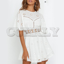 CUERLY White embroidery women summer dress Hollow out o neck cotton linen dresses Holiday backless short female vestidos 2019