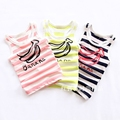 2016 summer Lovely colored stripes banana printed cotton sleeveless vest baby boys and girls T-shirt Korean children's clothing
