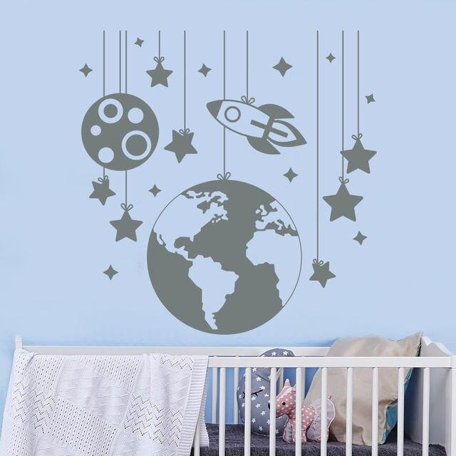 High Quality Planet Wall Decals Rocket Ship Space Decal Nursery Boy Room Playroom Decor Living House  sc 1 st  AliExpress.com & High Quality Planet Wall Decals Rocket Ship Space Decal Nursery Boy ...