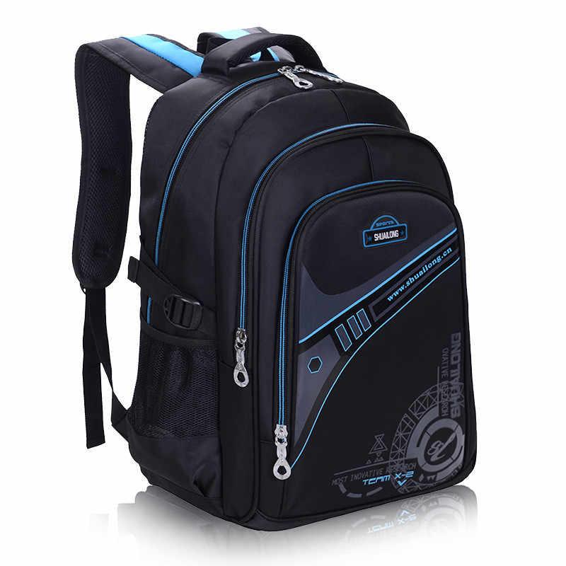 Детские школьные ранцы для мальчиков, утолщенный рюкзак для спины, Защита позвоночника, большая емкость, водонепроницаемые детские школьные сумки, mochila, 2 размера