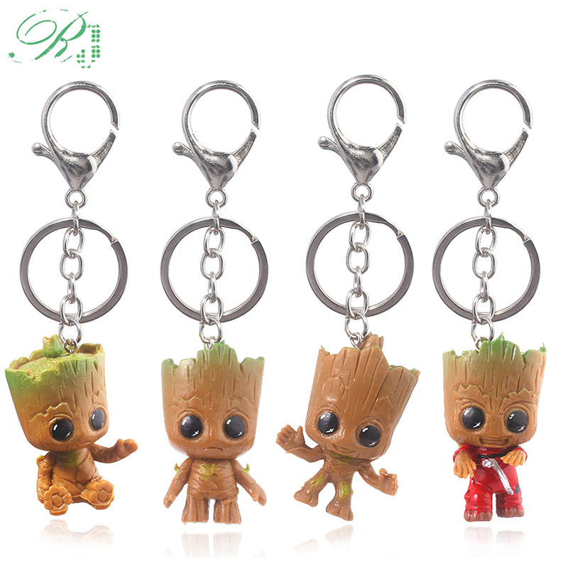 RJ Guardians Of Galaxy Keychains Love Dancing Baby Groots Tree Man Figure Toys Car Key Chains Kids Film Souvenir Jewelry Gift