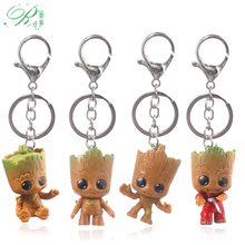 RJ Guardians of Galaxy Keychains Love Dancing Baby Groots Tree Man Figure Toys Car Key Chains Kids Film Souvenir Jewelry Gift цена 2017