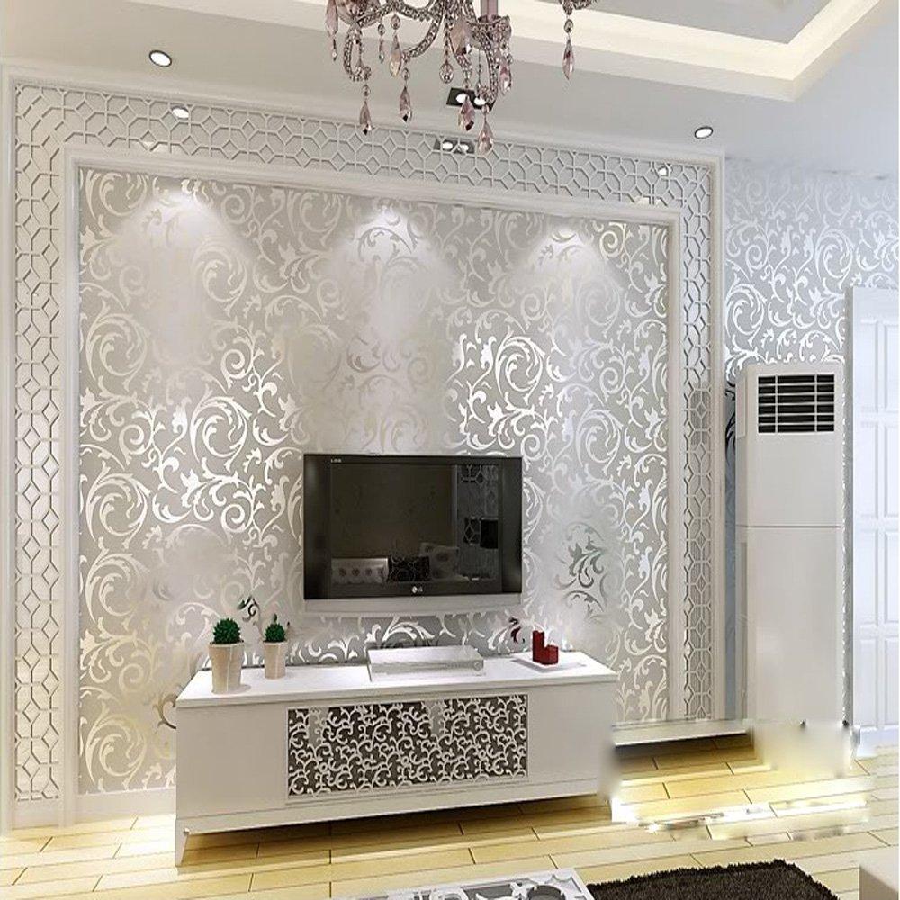 QIHANG Щепка серый Викторианский Дамаск тисненый текстурированный обои высокого качества 0,53 М * 10 м = 5.3м2