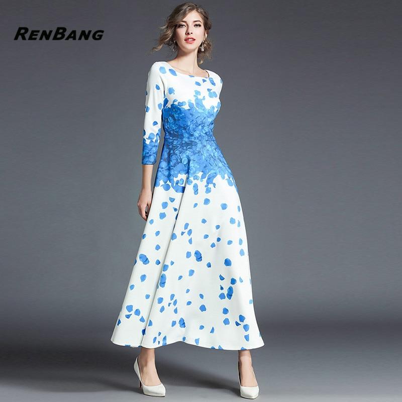 RENBANG 2018 Spring Floral Print Party Dress Elegant Women's Dress Vestidos Blue Casual Big Swing Bohemian Dresses bohemian floral flounce long swing beach dress