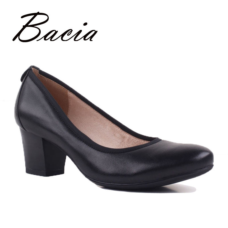 eaad93a51310 Bacia Black High Heels Shoes OL Soft Leather Shoes Old Fashion Mother Shoes  5.2cm Square Heels Fow Female Women s Pumps VD017