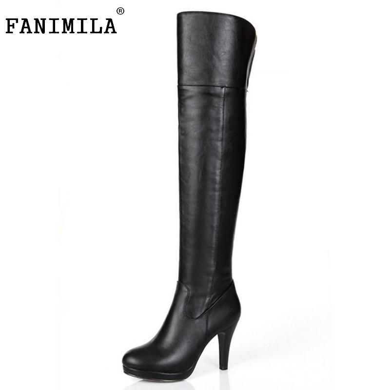 FANIMILA Free shipping over knee natural real genuine leather high heel boots women snow long warm shoes R5074 EUR size 34-39 free shipping over knee wedge boots women snow fashion winter warm footwear shoes boot p15323 eur size 34 39