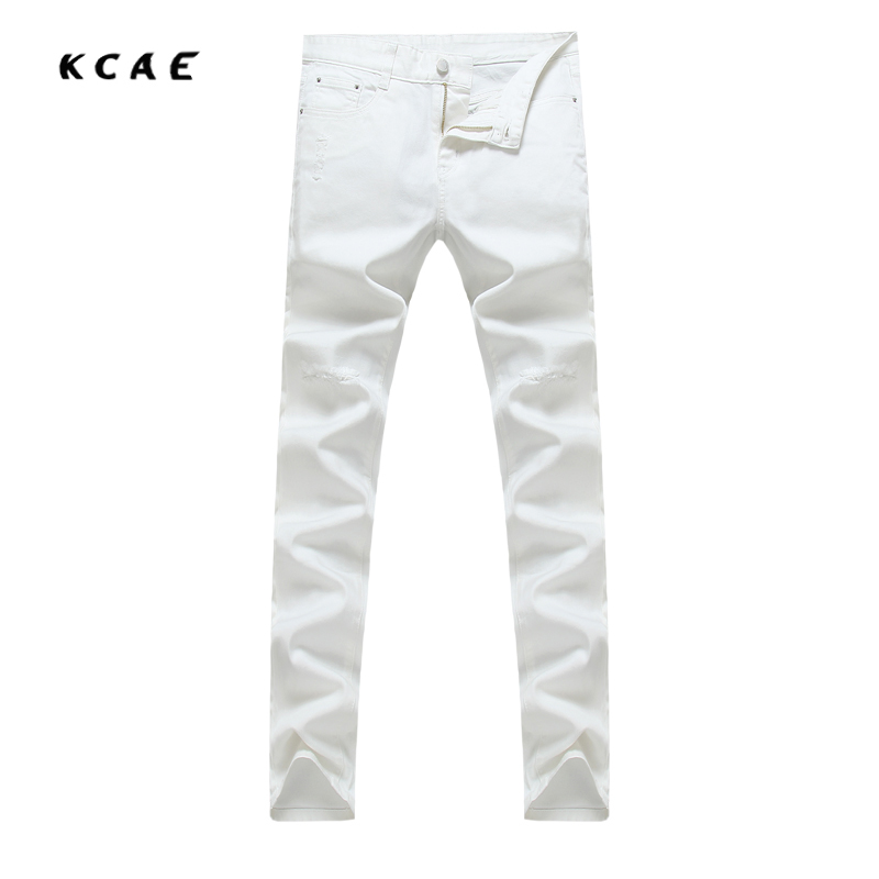 High Quality Denim Men's Brand 2017 Spring New Hole Men's Slim White And Black Jeans Trousers Plus Size 29-38