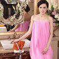 Women Sleep Wear Women's Solid Color Femme Sleeveless Slash Neck Knee-Length Nightgowns Sleepshirts Long Nightgown