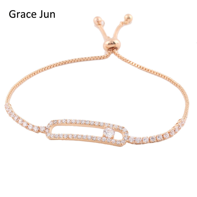 Grace Jun(TM) top quality micro inlay AAA Cubic Zirconia bracelets Copper Material Adjustable chain bracelet for women good gift