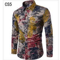 TOLVXHP 2018 Fashion Spring Autumn Casual Men S Shirts Slim Floral Print Linen Shirts Long Sleeve