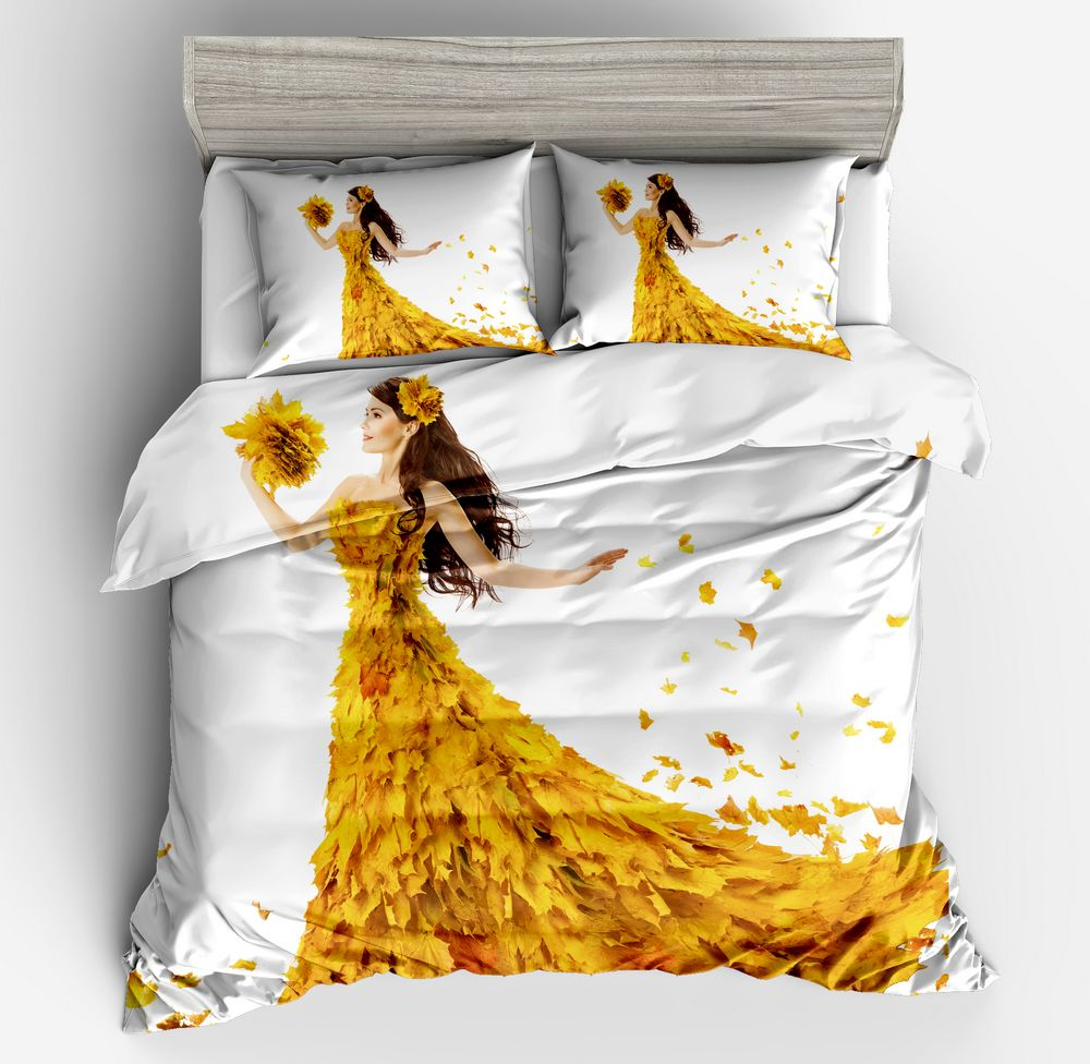 3d New hot sell cartoon character pattern Yellow Beauty Flower pure and fresh bedding white duvetcover pillowcase twin full size3d New hot sell cartoon character pattern Yellow Beauty Flower pure and fresh bedding white duvetcover pillowcase twin full size