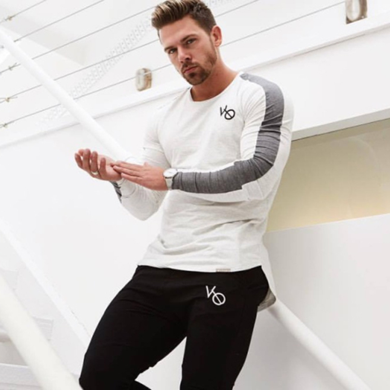 men long sleeved t shirt gyms Fitness-9A