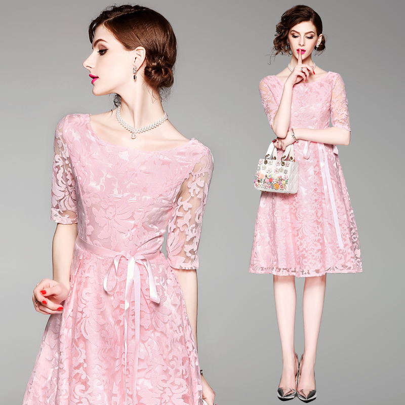 So elegant lace midi dress woman party wedding pleated dresses maxi full dress lady knee clothing robe pink dress fashion new
