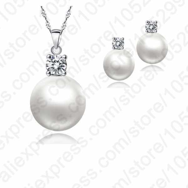 Wholesale Top Quality Wedding Jewelry Set Water Pearl Earrings Necklace S90 Pendant Necklace Free Shipping