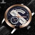 LIANDU мужская Мода Бизнес Часы Кожаный Ремешок Водонепроницаемый Военная Спортивные Часы Relogio Masculino
