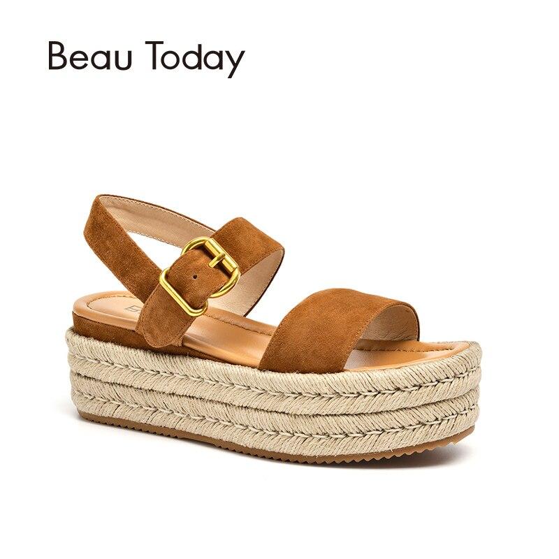 BeauToday Femmes D'été Sandales Enfant Daim Véritable Corde En Cuir Semelle Boucle Sangle Dames Chaussures Top Qualité 32071