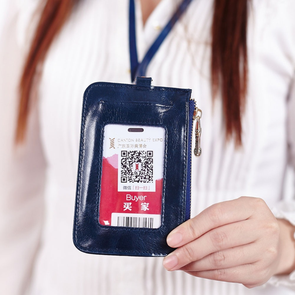 Genuine Leather Badge Card Case Business Holder