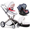 Baby Stroller 3 in 1 for Newborn Infant Folding Pram Carriage (standard stroller+separate sleeping basket+safety car seat)