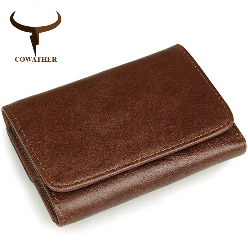 COWATHER 100 top cow leather men wallet vintage multifunctional Antimagnetic leather wallet RFID male purse J8106