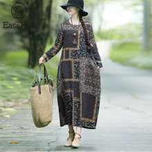 EaseHut Vintage Printed Cotton Linen Dress For Women Loose Casual Maxi Dresses Long Sleeve Round Neck Retro Fashion Elbise mujer