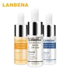 LANBENA Vitamina C Soro + Seis Peptídeos 24K Ouro + Soro Ácido Hialurônico Soro Anti Envelhecimento Clareamento Hidratação Da Pele mais brilhante