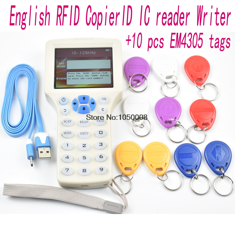 英語 10 周波数 Rfid コピー機 ID IC カードリーダライタコピー M1 13.56 MHZ UID 暗号化された複写機プログラマ USB + 10 個 EM4305 タグ  グループ上の セキュリティ & プロテクション からの コントロールカードリーダー の中 1