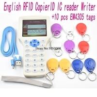 English 10 Frequency RFID Copier ID IC Reader Writer Copy M1 13 56MHZ UID Encrypted Duplicator