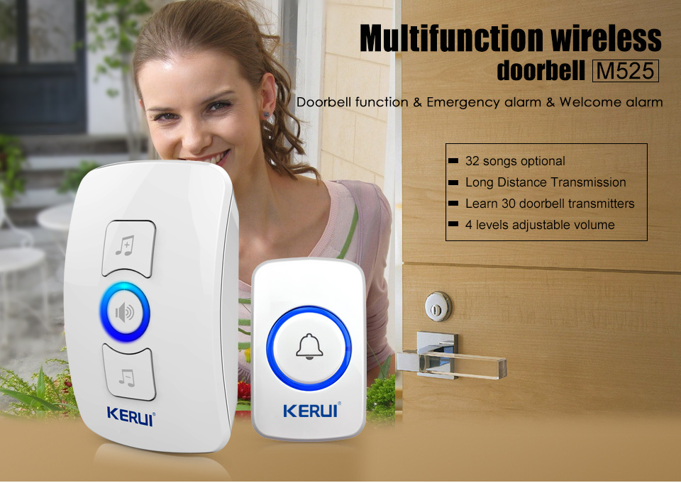 KERUI 2017 New Waterproof Multifunctional Wireless Doorbell with 32 Songs Support Multiple Doorbell Transmitter Welcome Chime