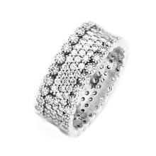 本物の 925 スターリングシルバーリング女性用クリアcz豪華な婚約結婚指輪ファッションジュエリーアクセサリー