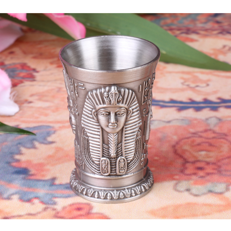 OGRM Crafts Egyptian Pharaohs Zinc Alloy Retro Wine Cups Mug Drinking Utensils Ancient Vintage Metal Cups