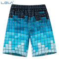 Sell Men's Check Gradient Color  Shorts Summer beach Short Plus Size Quick Dry Elastic Side Back Pockets