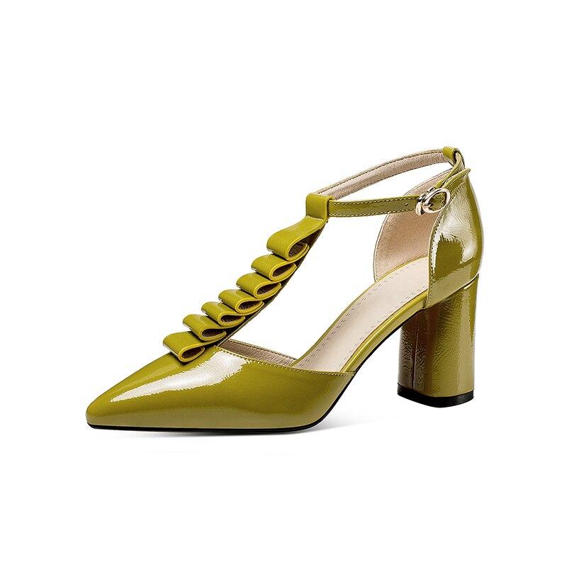 white De Talons Blanc Designer En Cuir Sandales Green Femme Bout Verni Gamme Nouveau Pointu Épais Couleur Haut Stylesowner Couverture Populaire u1c3TFlJK