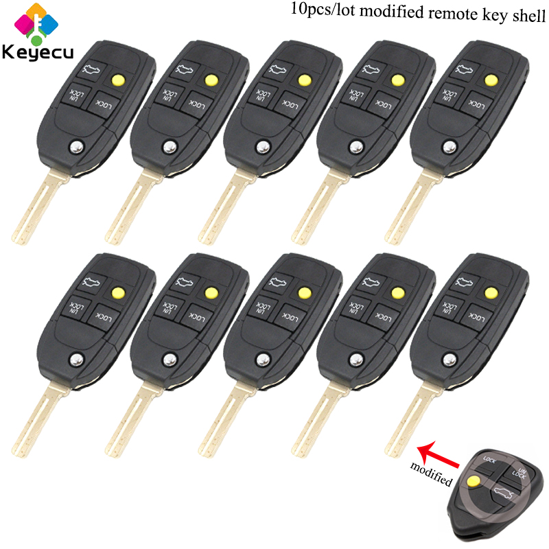 KEYECU 10 PCS/Lot remplacement modifié Flip télécommande voiture clé Shell-3 + 1/4 boutons-FOB pour Volvo S40 V40 C70 S60 S80 1988-2004
