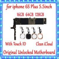 100% Протестировано для iphone 6 S Plus материнская плата 16 gb 64 gb 128 gb фабрика разблокирована для iphone 6 S Plus логическая плата с сенсорным ID пластиной